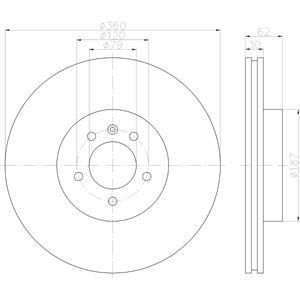 Hella Pagid Front Disc Brake Rotor SDB000624